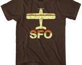 Fly San Francisco T-shirt - SFO Airport Tee - Men and Unisex - XS S M L XL 2x 3x 4x - 3 Colors