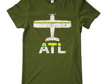 Women's Fly Atlanta Tee - ATL Airport - S M L XL 2x - Ladies Atlanta T-shirt - 3 Colors