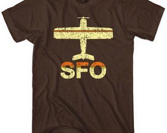 Fly San Francisco T-shirt - SFO Airport Tee - Men and Unisex - XS S M L XL 2x 3x 4x - 3 Colors