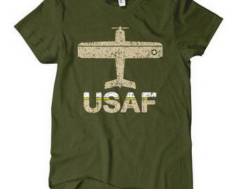 Women's Fly USAF T-shirt - S M L XL 2x - Air Force Ladies Tee - USA - 3 Colors