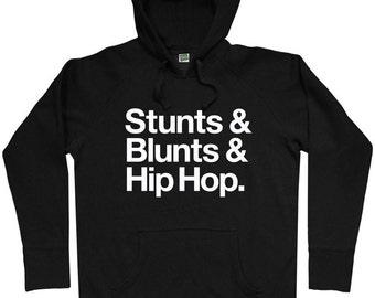 Stunts, Blunts & Hip Hop Hoodie - Men S M L XL 2x 3x - Hoody Sweatshirt - Weed, Hip Hop - 2 Colors