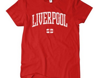 Women's Liverpool T-shirt - S M L XL 2x - Ladies England Tee - 4 Colors