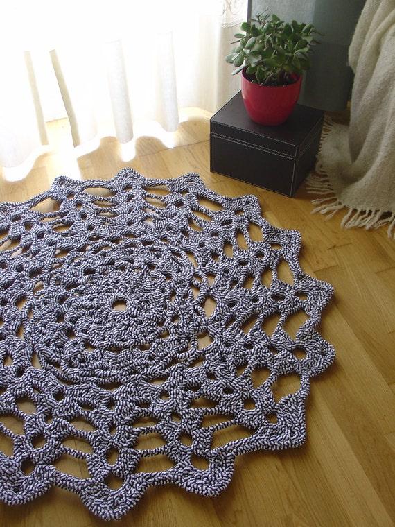 Crochet Rug - Navy Blue Stripes
