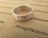 Hammered Polka Dot Ring Band in Sterling SIlver and Copper