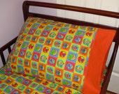 Sesame Street Baby Toddler Bed Flannel Fitted Sheet Standard Pillowcase Elmo Big Bird Orange