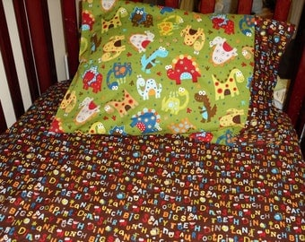 baby bedding dinosaur fitted sheet with toddler pillowcase