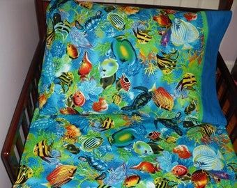 baby bedding  fish fitted sheet with standard  pillowcase