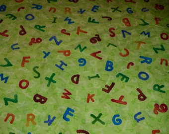 ABC Baby bedding Alphabet  fitted sheet lime green