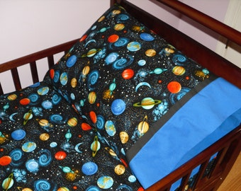 Outer Space Planets Baby Toddler Bedding Fitted sheet with standard pillowcase set