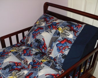 Spiderman Baby/ Toddler Bed Fitted Sheet Set Super Hero Print and Standard Pillowcase Blue