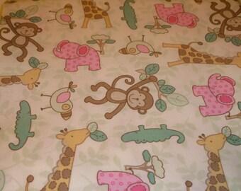 Animals Fitted Sheet baby toddler bed monkeys birds giraffe alligators elephants