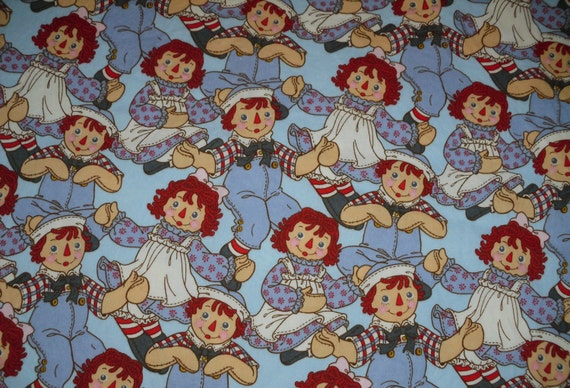 Raggedy Ann Andy Fitted Crib Toddler Sheet and Standard Pillowcase Set  Blue Doll Children Girls