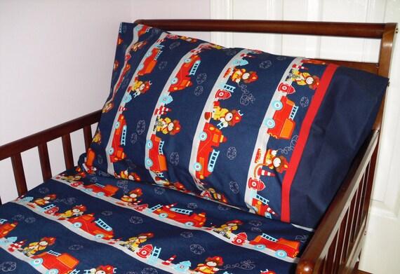 Fire Truck Toddler Bedding Fitted sheet with standard pillowcase set Teddy Bear Fireman