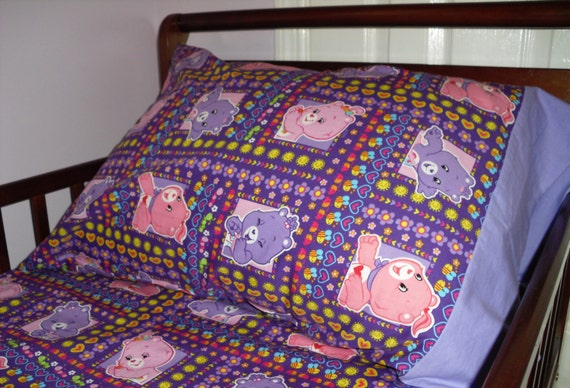 Care Bears Baby Toddler Bed Fitted Sheet Standard Pillowcase Purple Pink