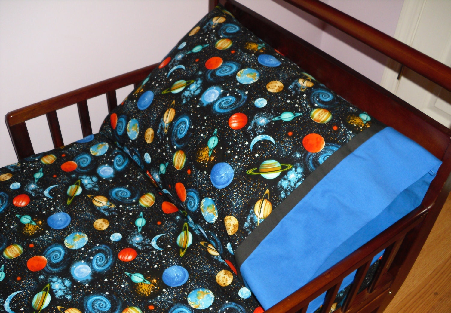 Outer space planets baby toddler bedding fitted sheet with for Space baby fabric