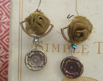Antique button earrings,