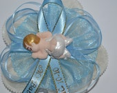 Baby Shower Corsage With Cold Porcelain Sleeping Baby Lying On His Tummy