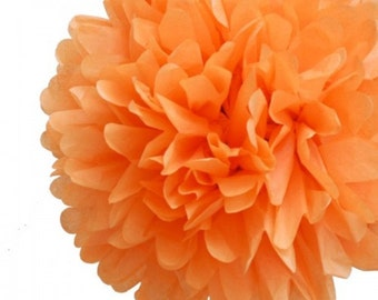 Tissue Paper Flower Pom  Pom Orange
