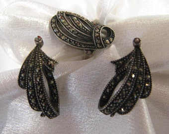 1920s Art Deco Signed German Sterling Silver  Marquisate ring and Earrings set