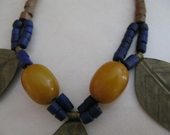 Fabulous Vintage Handmade Necklace with Baltic Amber Brass Leafs Genuine Lapis stones and wood beads