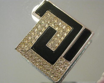 Collectible Rare Judith Leiber Black and Silver Modern Brooch