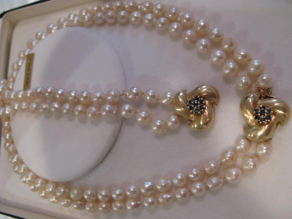 Antique 14k.gold  Sapphire clasp and Baroque Pearl Necklace and Bracelet set FREE SHIPPING