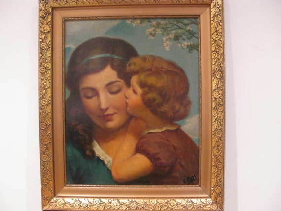 SALE Antique Oil Painting Mother and Child