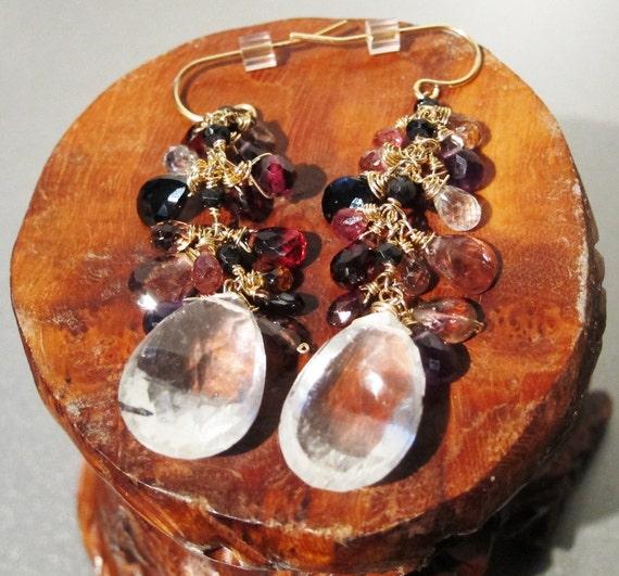 Quartz Tourmaline Garnet Black Spinel Statement Cluster Earrings