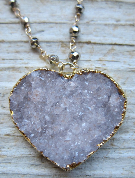 Clearance Pale Lavender Druzy heart Pendant and Steel Coated Spinel Necklace