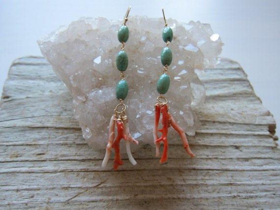Long Turquoise and Natural Coral Branch Earrings