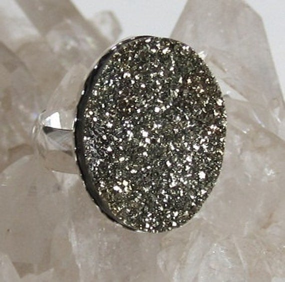 Natural Rainbow Pyrite Druzy Sterling Silver Ring size 5 1/2