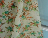 Vintage Fabric- Floral Crepe-Teal, Spring Green,Orange,and Brown-Shabby Bouquets-Sheer- light yellow/ wax bean