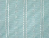 Vintage Curtain Fabric-Light Blue-Sheer-with White Floral / Suns Embroidery