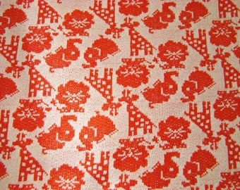 """Vintage Fabric- Poly-knit """"Circus"""" Animals-Red and White"""