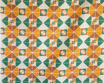 Vintage Upholstery Fabric-1970s-Orange, Green, Grey and Brown-Geometric-patchwork silkscreen