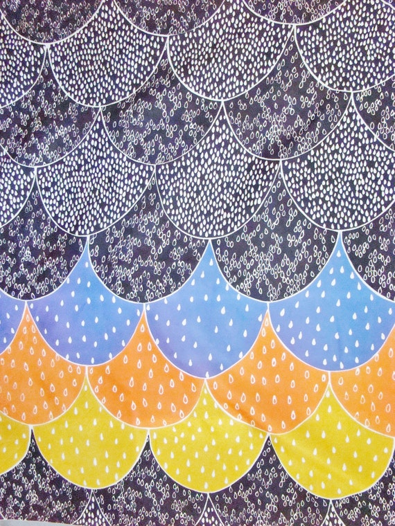 RESERVED for FEYNMANLIVES--3ydsVintage Fabric-Silky-Polyester-Black,Purple, Orange, Yellow-Illustrative Scalloped Pattern