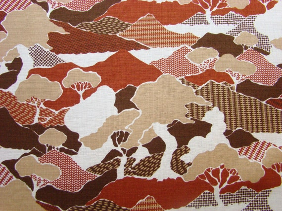 RESERVED for AP-8yards Vintage Fabric Yard-1970s-Brown and White- landscape with multi-patterned hills and trees