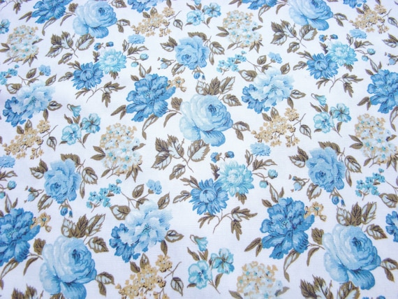 Vintage Fabric-Waverly-Floral-Upholstery- Blue, Mustard  and white floral-Roses