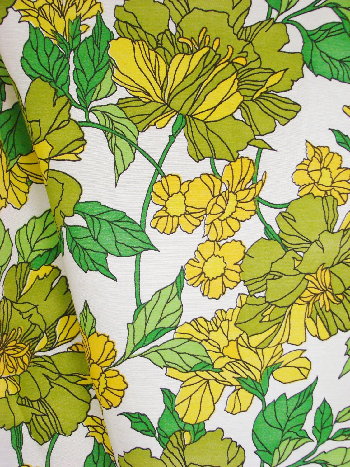 Vintage Fabric 1970s Floral Curtain Upholstery By Gollidrops