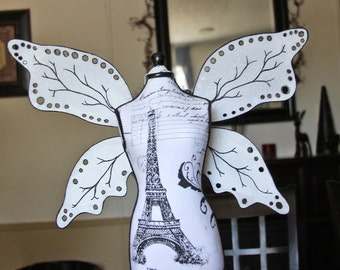 Steampunk Black and White Adult Fairy Wings/ Made to Order