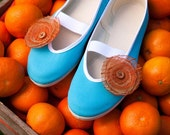 tangerine touch / orange blue turquoise juicy ballet flats shoes wedding woman poletsy fashion gift comfortable sky trends juicy colorful