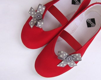 Grey bow / red ballet flats shoes summer mary janes bow polka dot red woman bride poletsy fashion gift romantic beach hot holiday