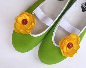 Yellow flower /ballet flats shoes spring summer solar beach green bright jarmilki wedding woman bride poletsy fashion gift romantic elegant