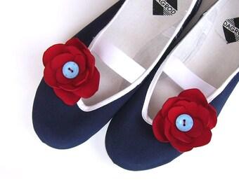 Sailors flowers /ballet flats red blue shoes summer navy flower jarmilki wedding woman poletsy fashion gift romantic elegant
