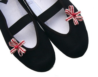 my little red /ballet flats shoes spring summer mary janes bow polka stripes woman bride poletsy fashion gift romantic vegan black flower