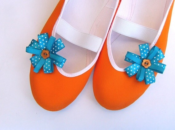 Tangerine sky / autumn orange bright blue turquoise ballet flats shoes jarmilki wedding woman bride poletsy fashion gift romantic winter