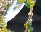 Green Beads and Gold Tone Long Sweater Necklace