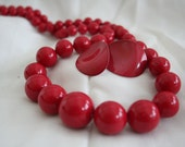 Lipstick Red Beaded Necklace and Earrings