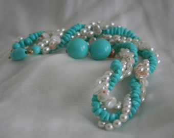 Twisty Aqua Blue and Faux Pearl Choker