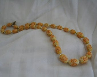 Pale Yellow Vintage Carved Bead Necklace